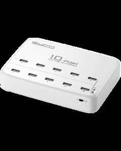 HUB1001 USB Hub - 10 poorten - USB Oplader 10x1.0A of 5x2.4A